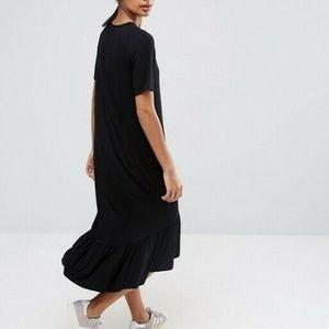 Asos Frill Hem Midi Shirt Dress